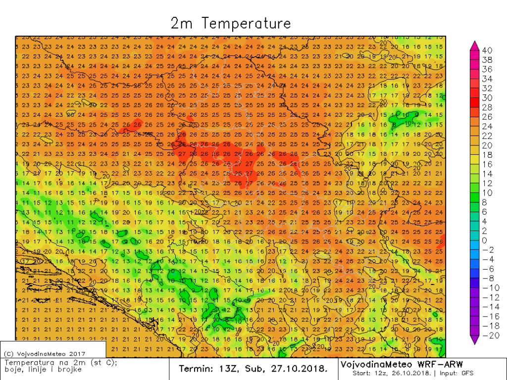 Maksimalne temperature u Srbiji i bližem okruženju u subotu (ARW)