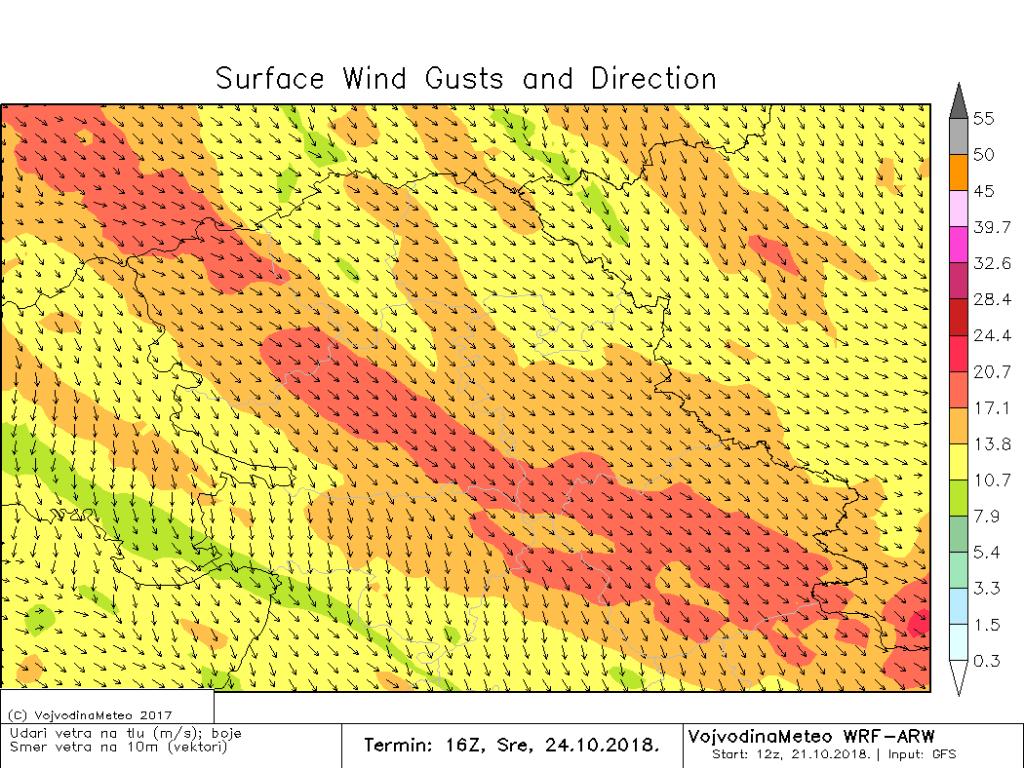 Na udare jak do olujan severozapadni vetar u sredu popodne (ARW)