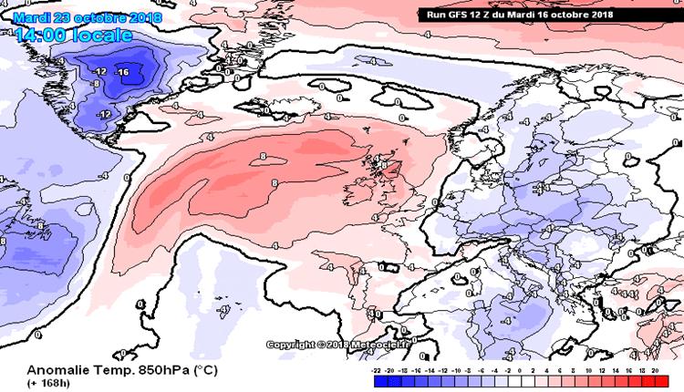 Odstupanje temperature od proseka na 850hPa - uto 23. okt (GFS)