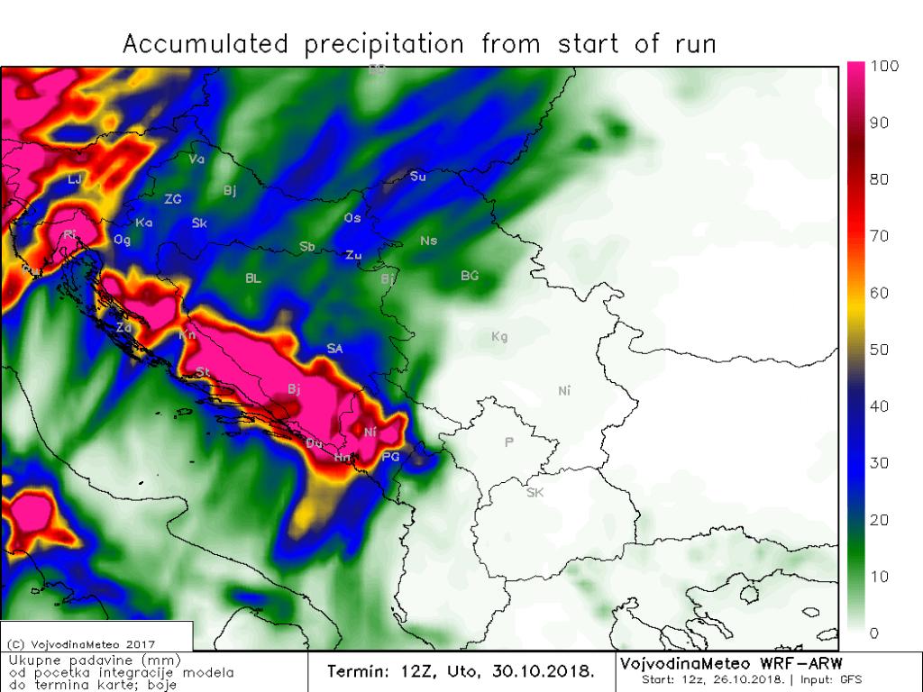 Padavinski totali u okruženju do utorka sredinom dana (ARW)