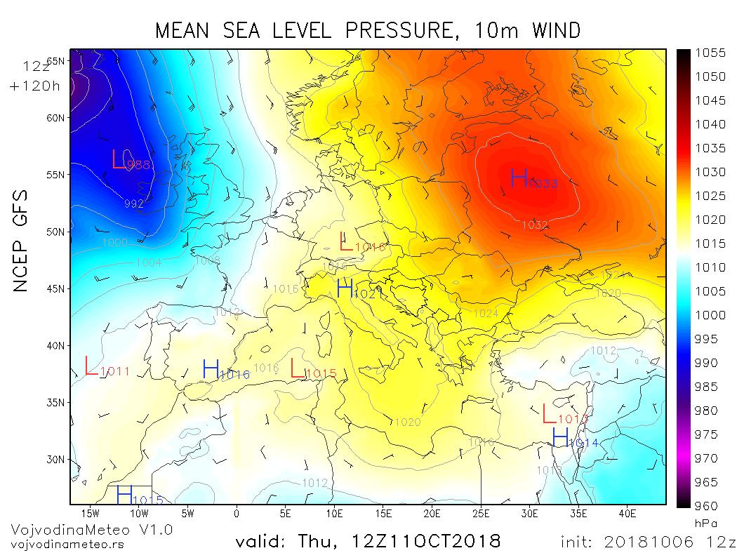 Razvijen anticiklon na istoku Evrope u četvrtak (GFS)