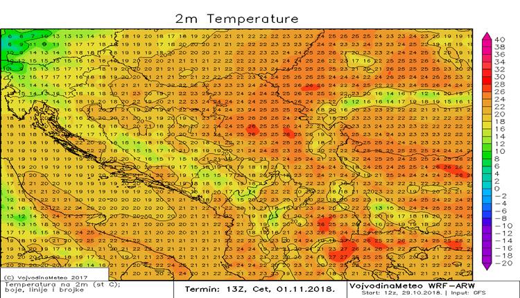 Temperature iznad proseka u većem delu regiona (četvrtak)