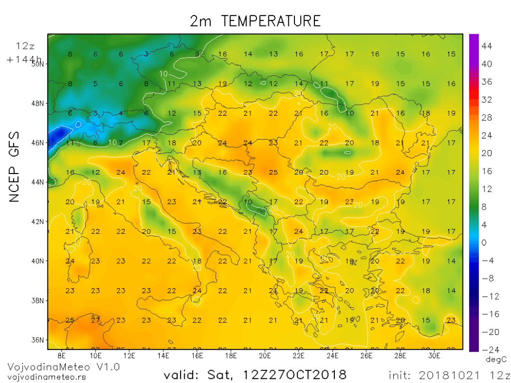 Temperature u širem regionu u subotu (GFS) - 27. okt 2018