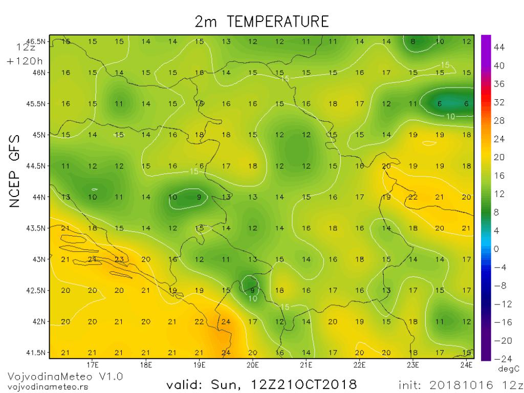 Temperature u nedelju sredinom dana u regionu (GFS)