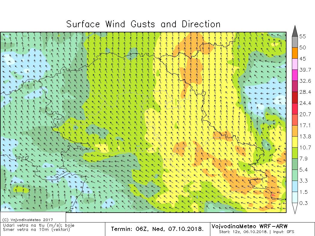 Udari jugoistočnog vetra u nedelju pre podne (ARW)