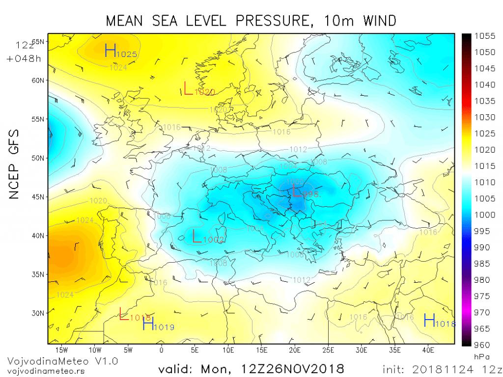 Centar ciklona će u ponedeljak biti iznad našeg područja (GFS)