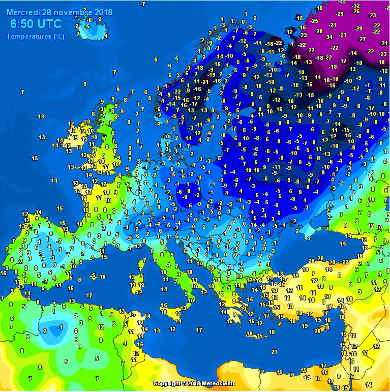 Jutarnje temperature vazduha u Evropi