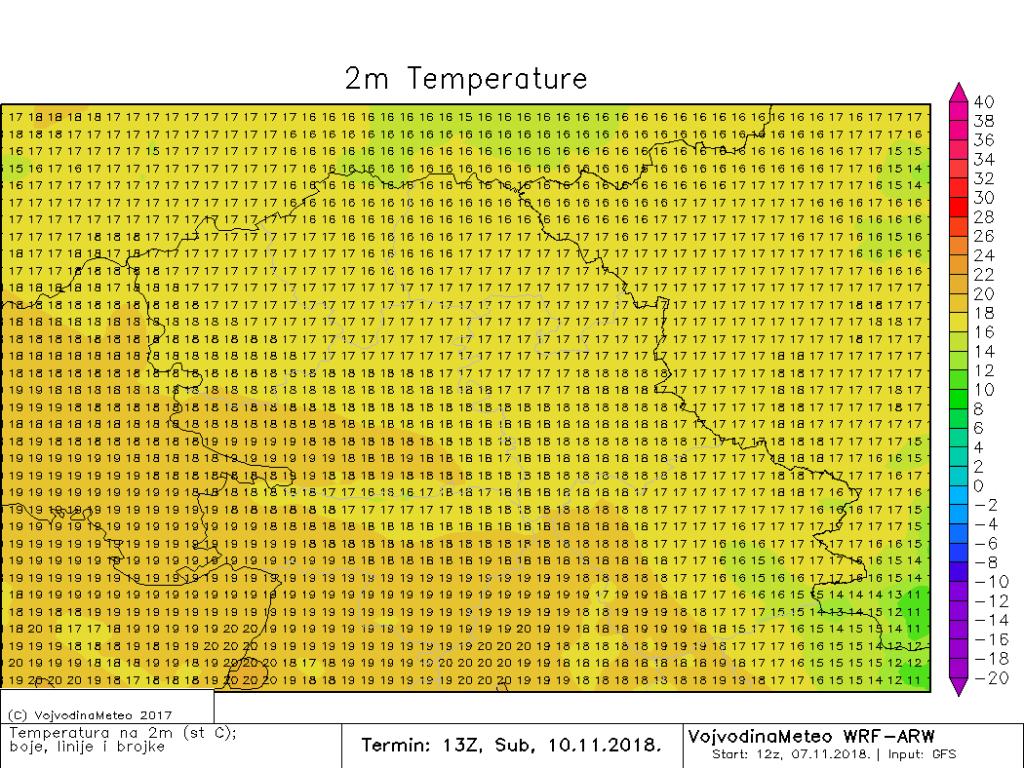 Maksimalne dnevne temperature u subotu (ARW)