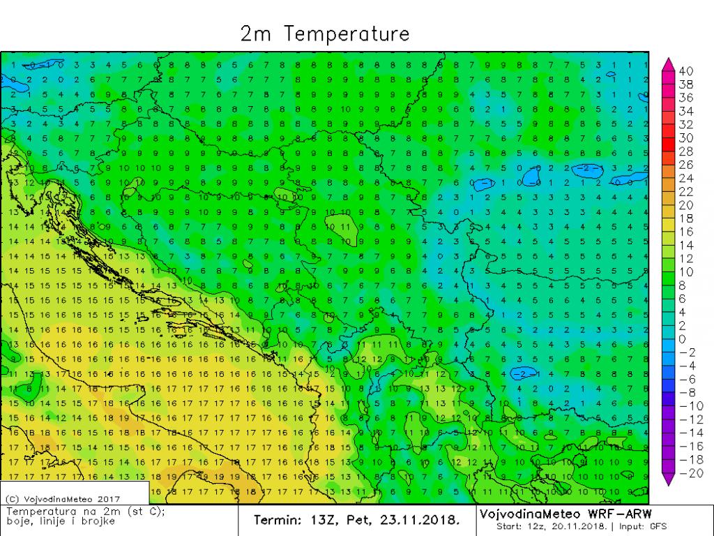 Maksimalne temperature u petak u regionu (ARW)