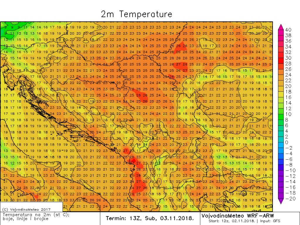 Maksimalne temperature u regionu sutra (ARW)