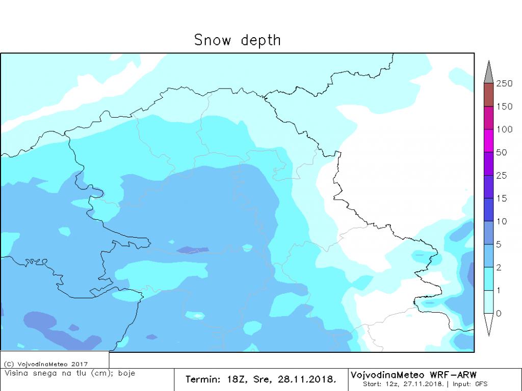 Očekivana visina snežnog pokrivača sutra uveče (ARW)
