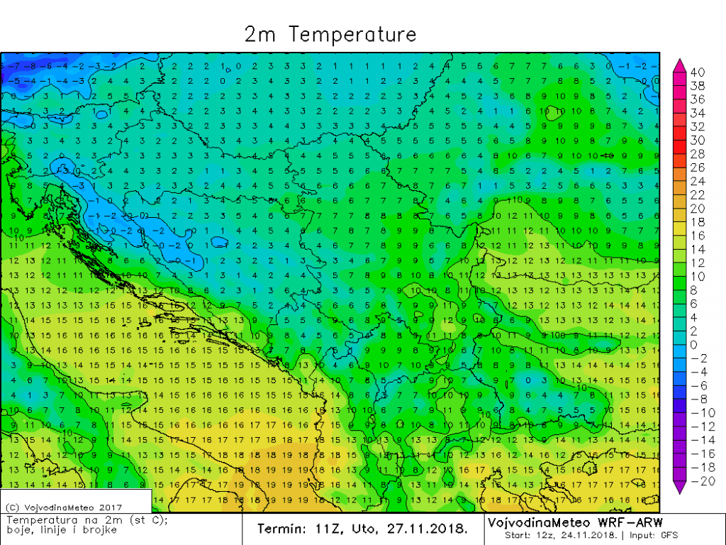 Temperature u regionu u utorak sredinom dana (ARW)
