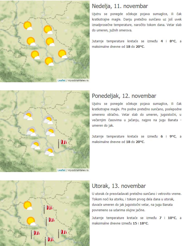Trodnevna prognoza 11-13. novembar za Vojvoidinu