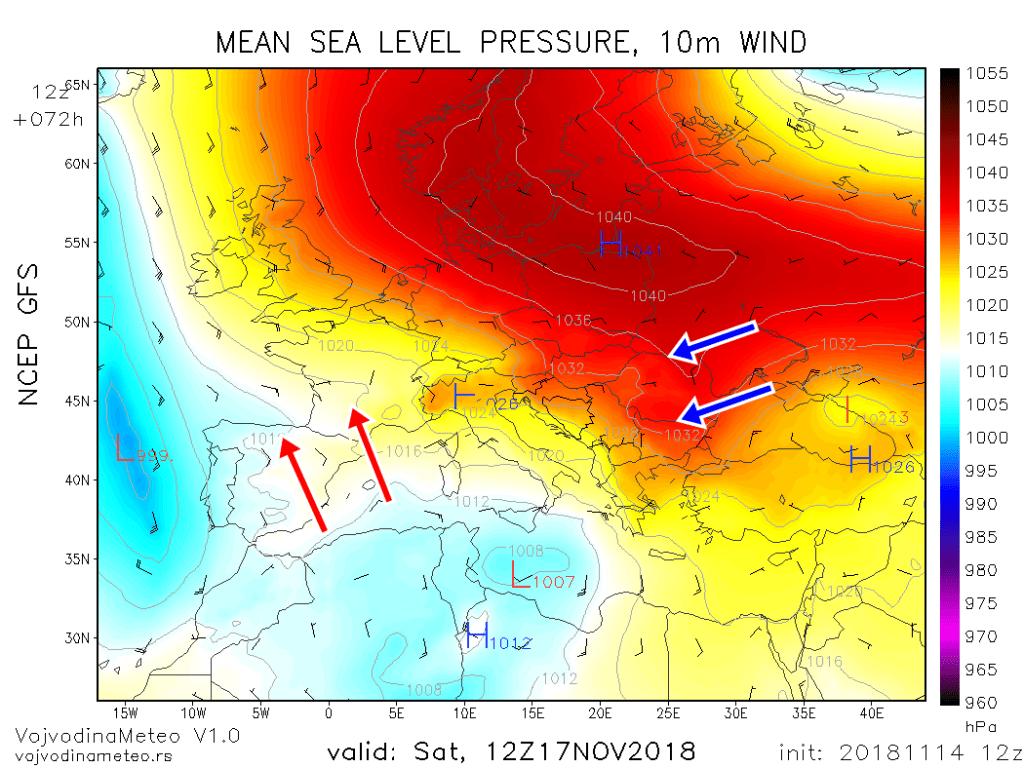 Zimski anticiklon u subotu 17. novembra (GFS)