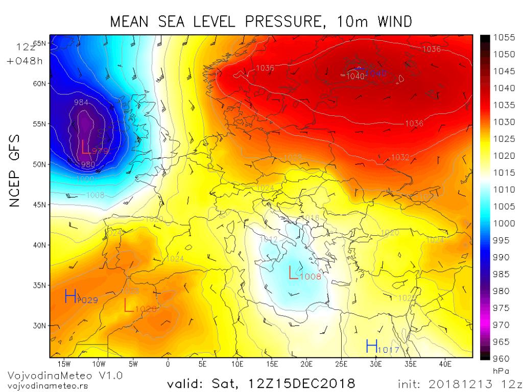 Centar ciklona u Jonskom moru u subotu (GFS)