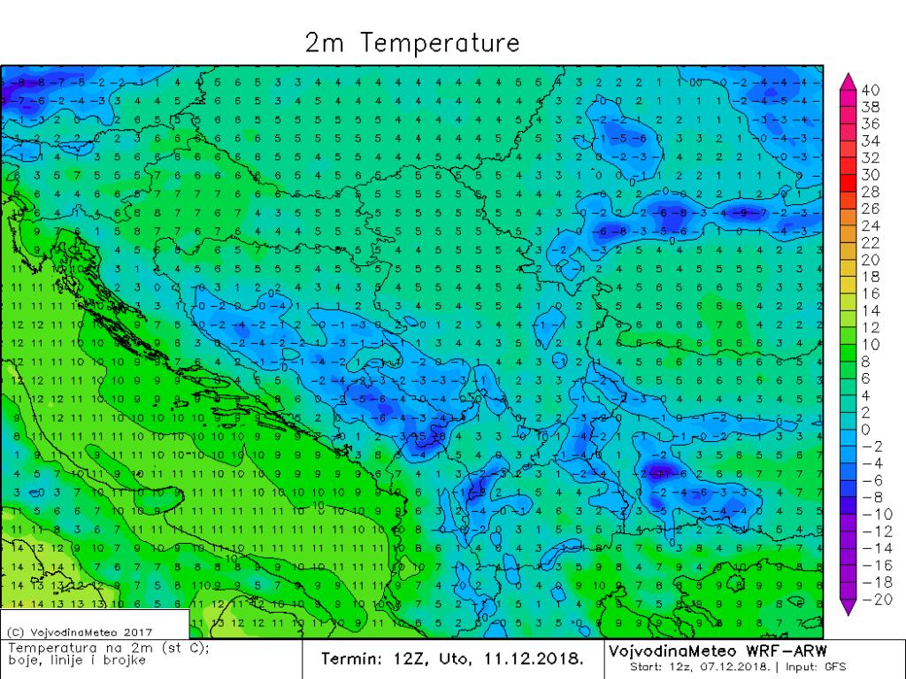 Dnevne temperature u regionu u utorak sredinom dana (ARW)
