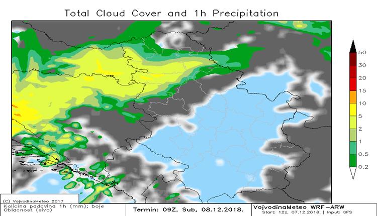 Front će sutra više padavina doneti zapadnim susedima (ARW)