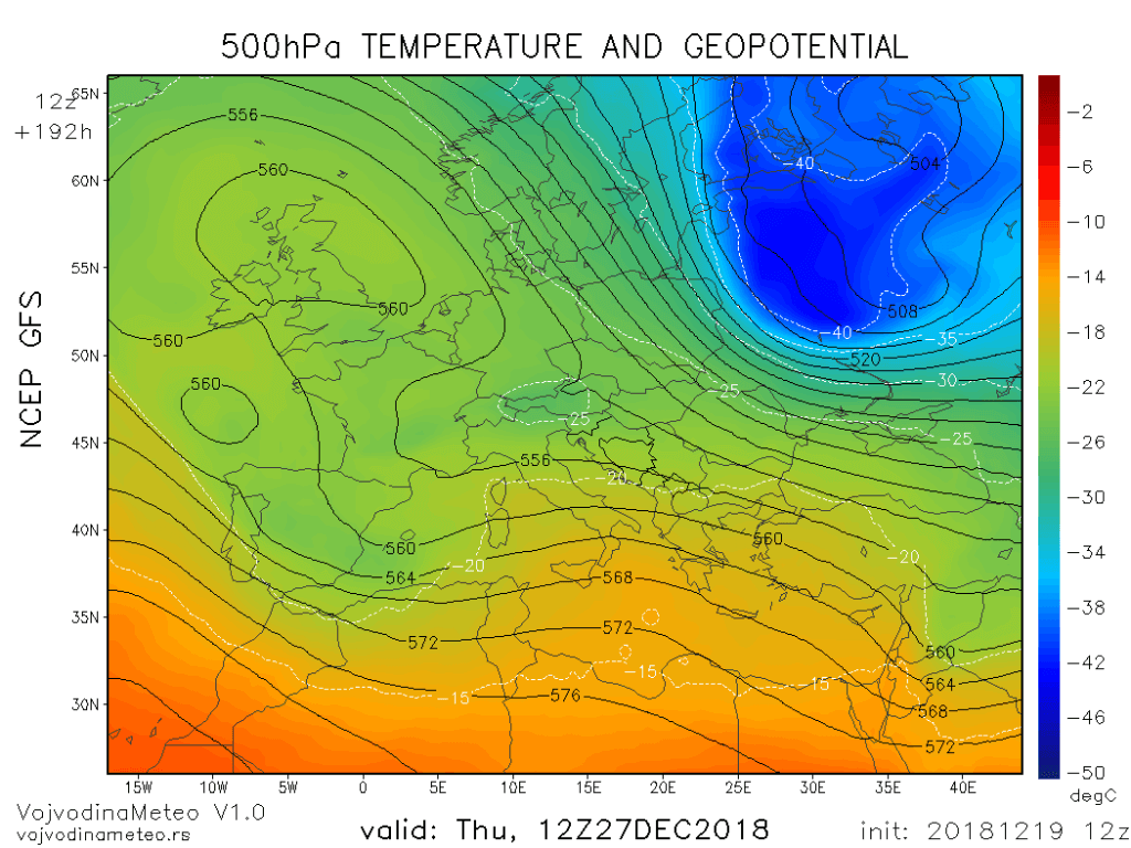 Geopotencijal i temperatura na 500hPa u četvrtak 27. dec (GFS)