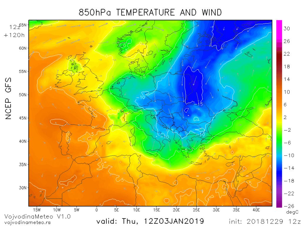 Jezik hladnog vazduha preko centralne i istočne Evrope spušta se ka jugu (GFS)