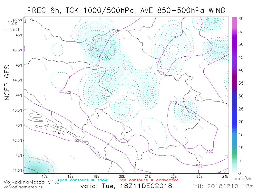 Lokalne padavine sutra poslepodne (GFS)