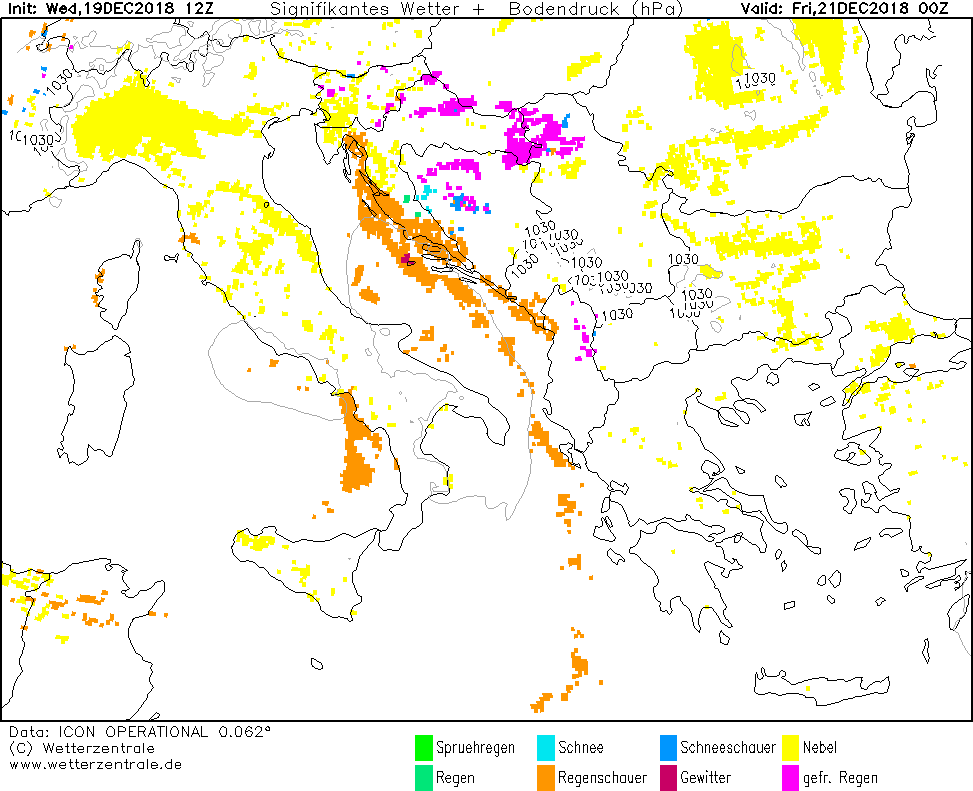 Opasno vreme prema ICON modelu - ledena kiša u noći ka petku