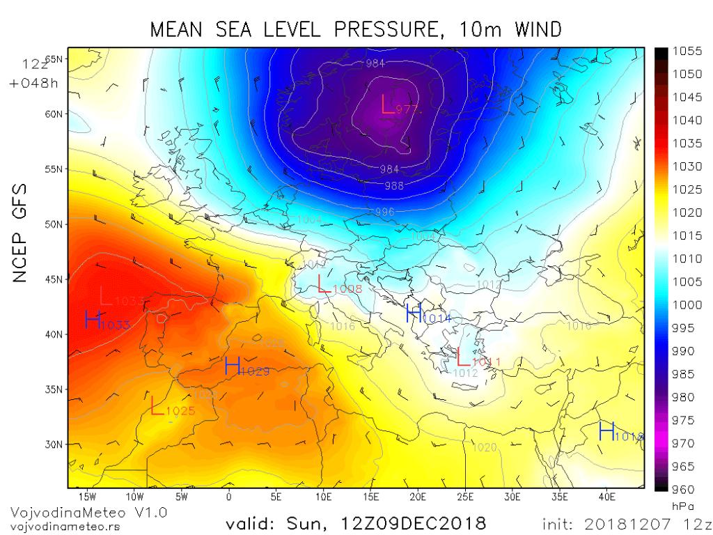 Snažan ciklon na severu Evrope u subotu (GFS)
