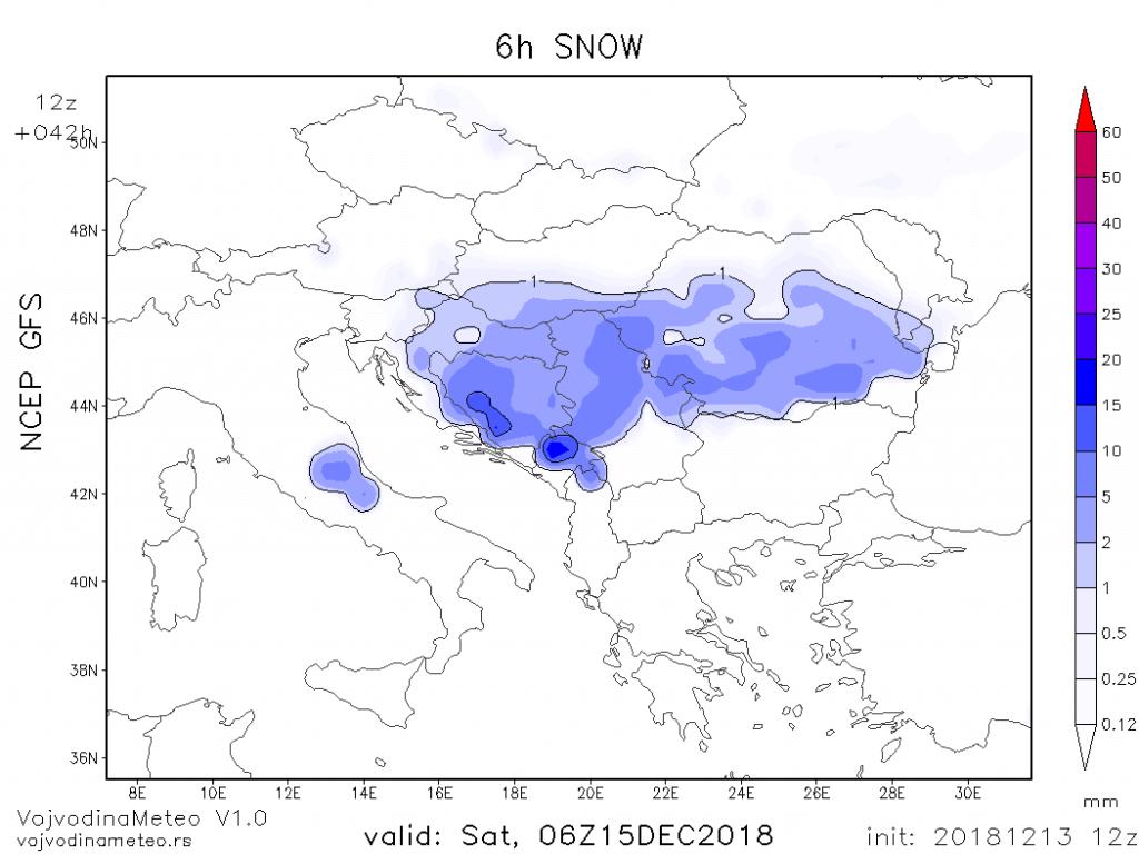Snežna noć ka suboti širom regiona (GFS)