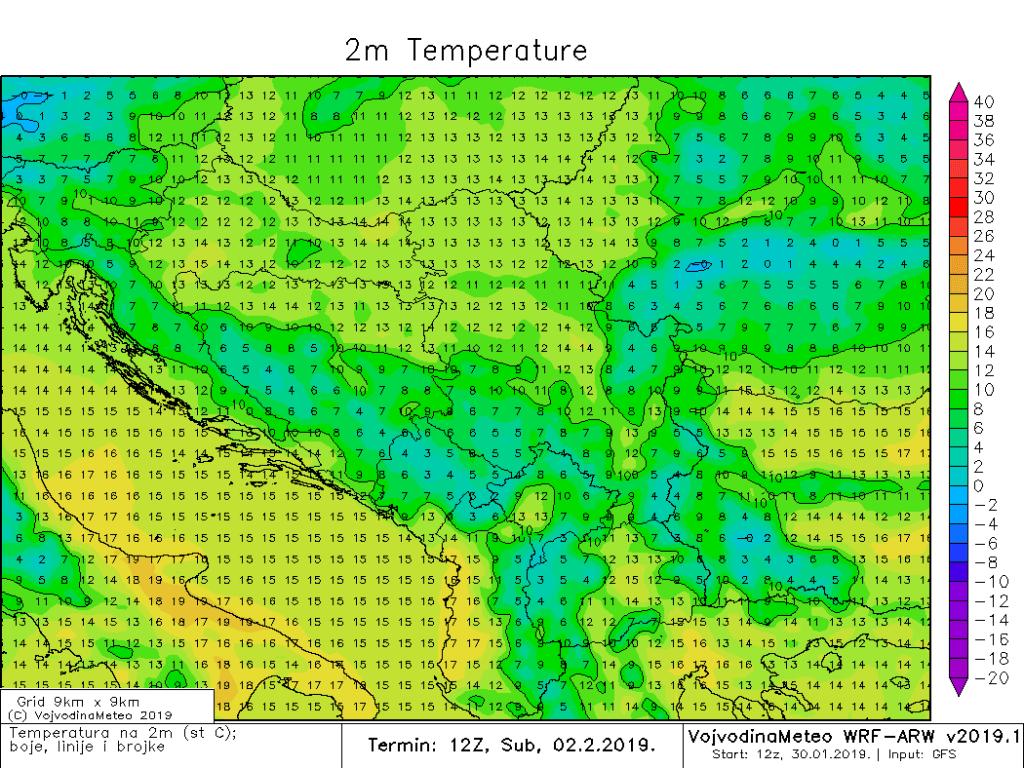 Dnevne temperature u regionu u subotu (ARW)