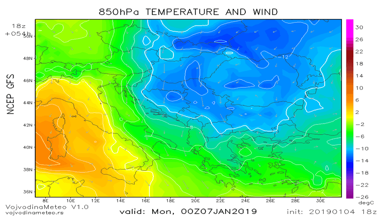 Hladna vazdušna masa okupiraće širi region početkom naredne sedmice (GFS)