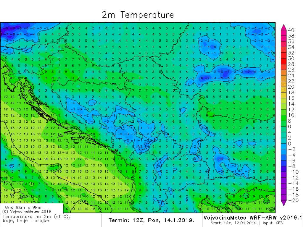 Maksimalne temperature u regionu u ponedeljak (ARW)