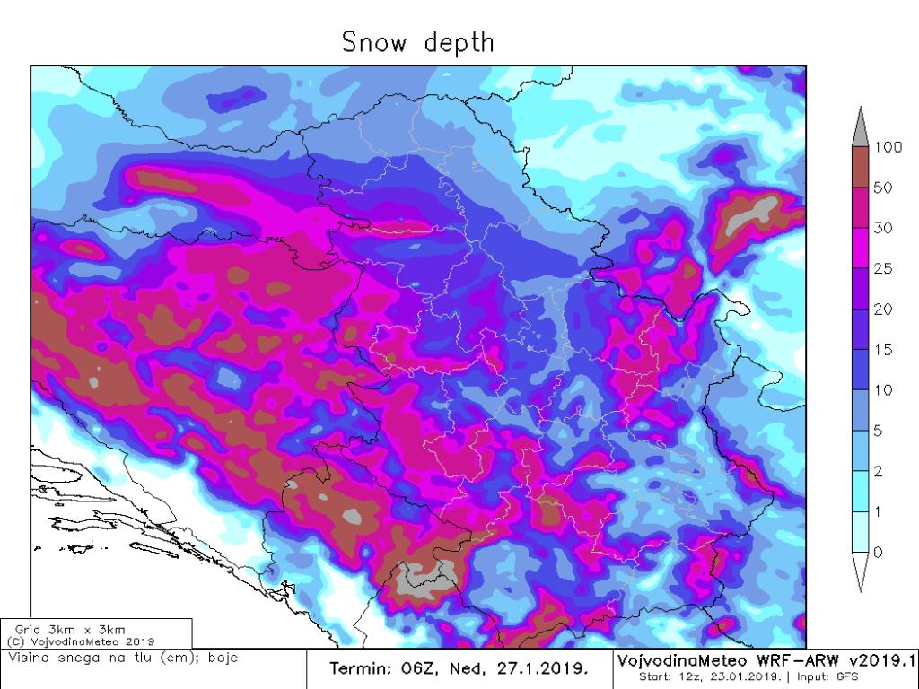 Očekivana visina snežnog pokrivača u nedelju ujutru (ARW)