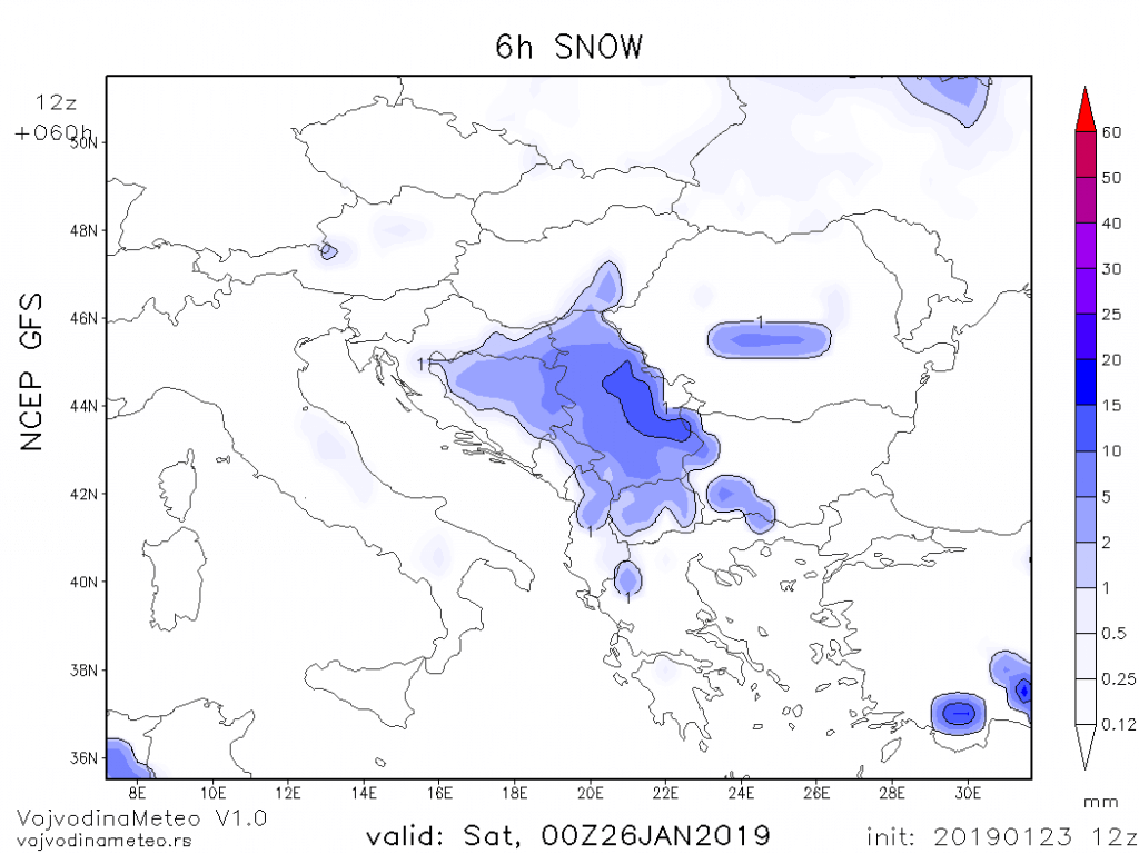 Položaj snežnih padavina u petak uveče (GFS)