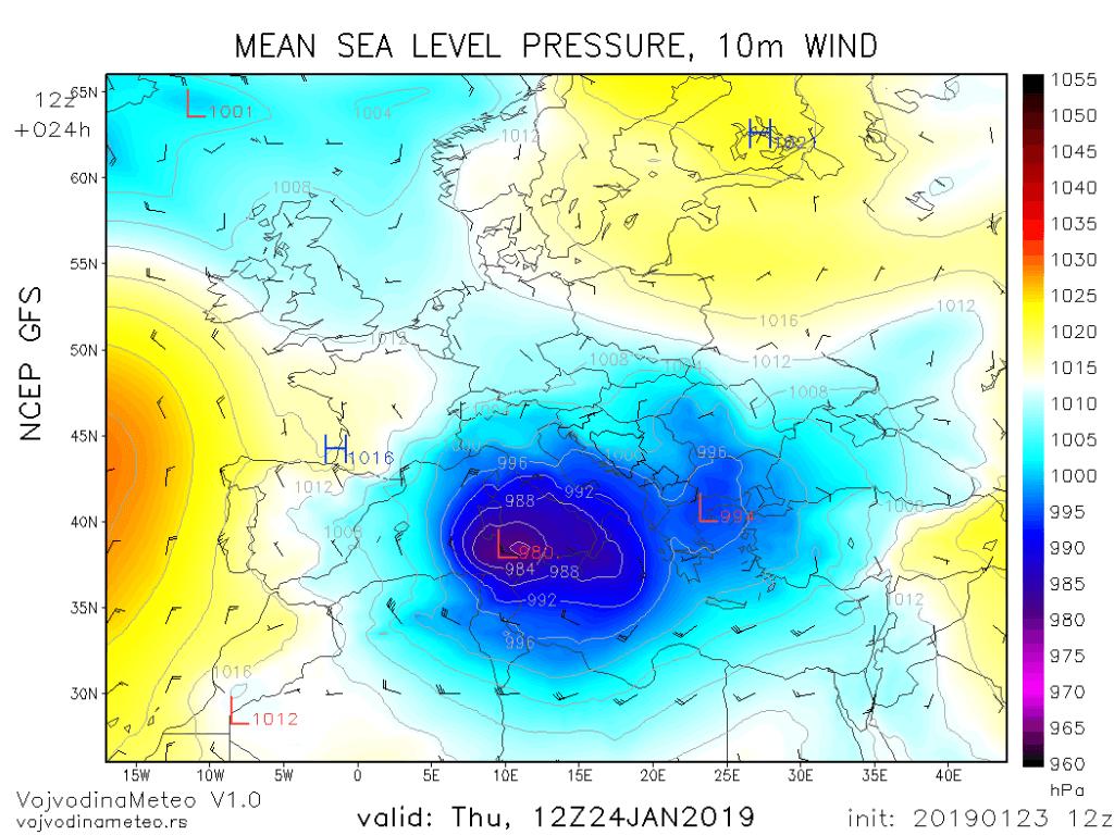Pozicija dubokog ciklona u četvrtak sredinom dana (GFS)