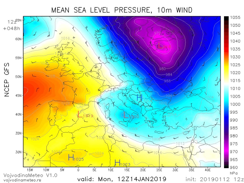 Sekundarni ciklon u Tirenskom moru u ponedeljak (GFS)
