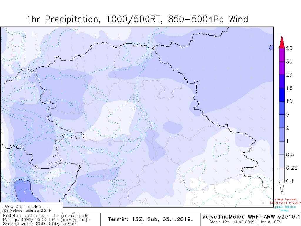 Snežne padavine u Vojvodini sutra uveče (ARW)