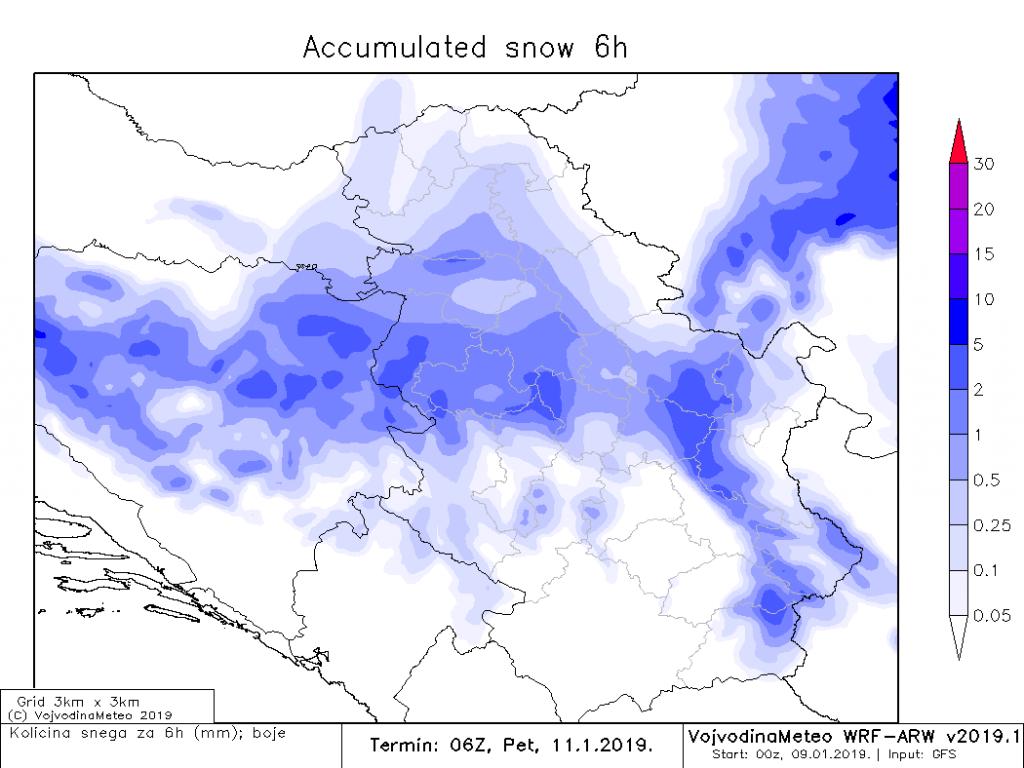 Snega će biti i u noći ka petku, akumulacija 6h (ARW)