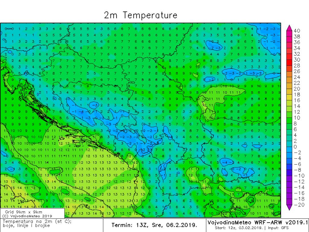 Maksimalne temperature u regionu u sredu (ARW)