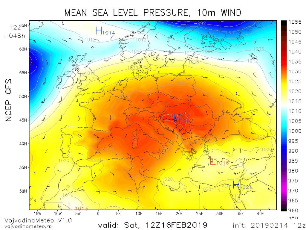 Prostrani anticiklon iznad Evrope u subotu (GFS)