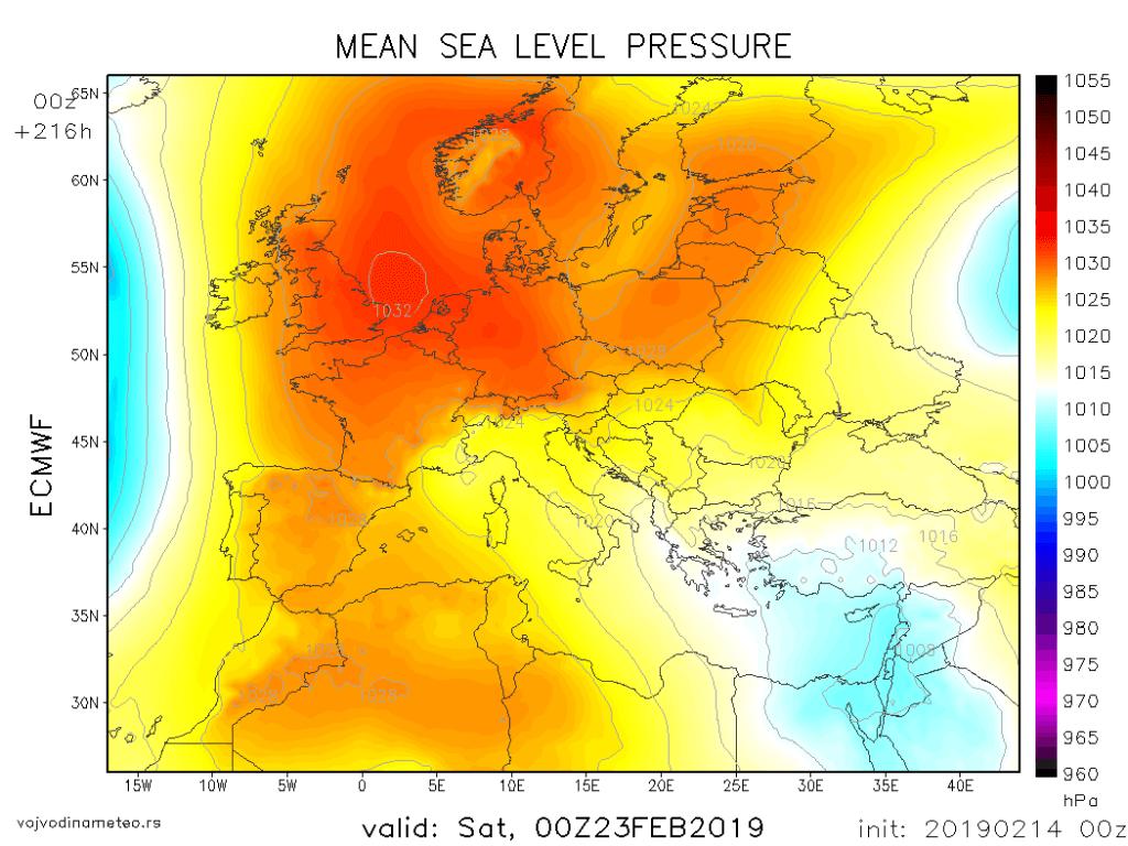Sinoptička situacija 23. februara po jutrošnjem ECMWF modelu
