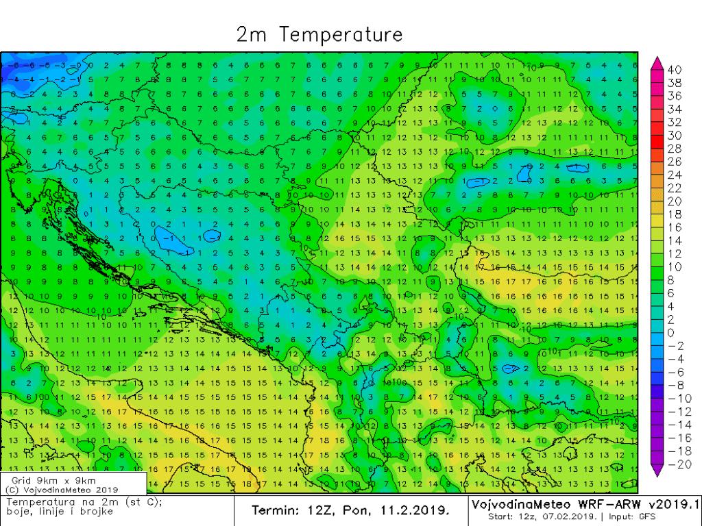 Temperature u ponedeljak sredinom dana širom regiona (ARW)