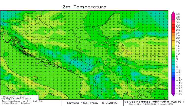 Temperature u regionu u ponedeljak (ARW)