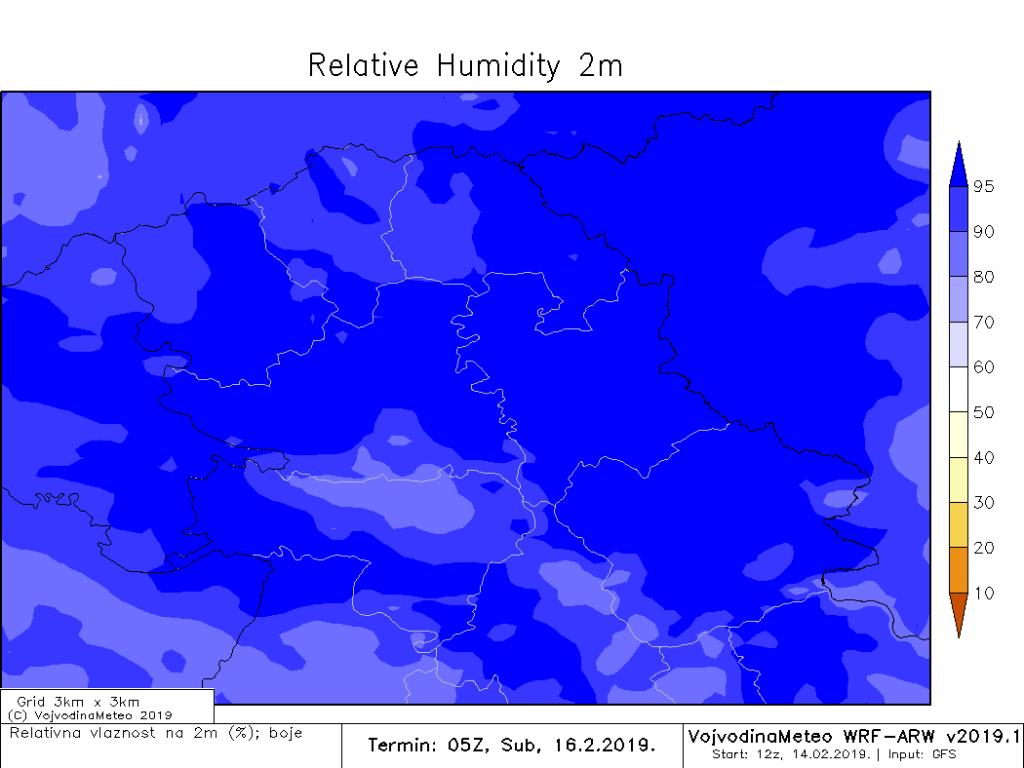 Visoka relativna vlažnost sugeriše na moguću maglu u subotu (ARW)