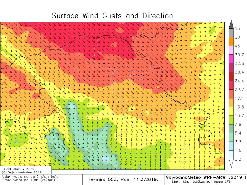 Jaki i olujni udari SZ vetra u ponedeljak ujutru (ARW)