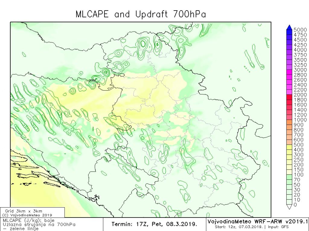 MLCape na zapadu i u delovima Vojvodine do 250 Jkg