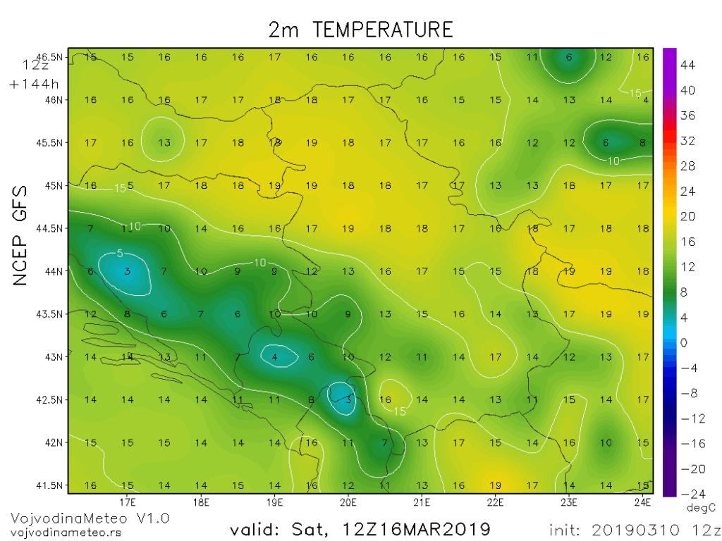 Moguće dnevne temperature krajem sedmice (GFS)