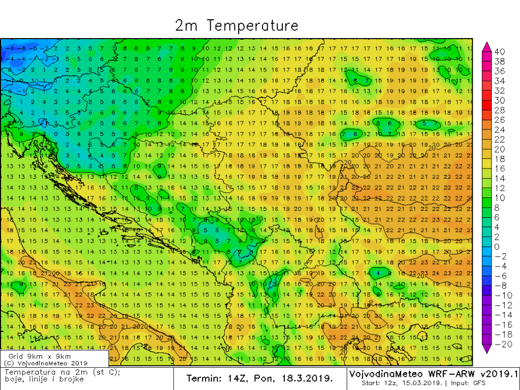 Temperature u regionu u ponedeljak popodne (ARW)