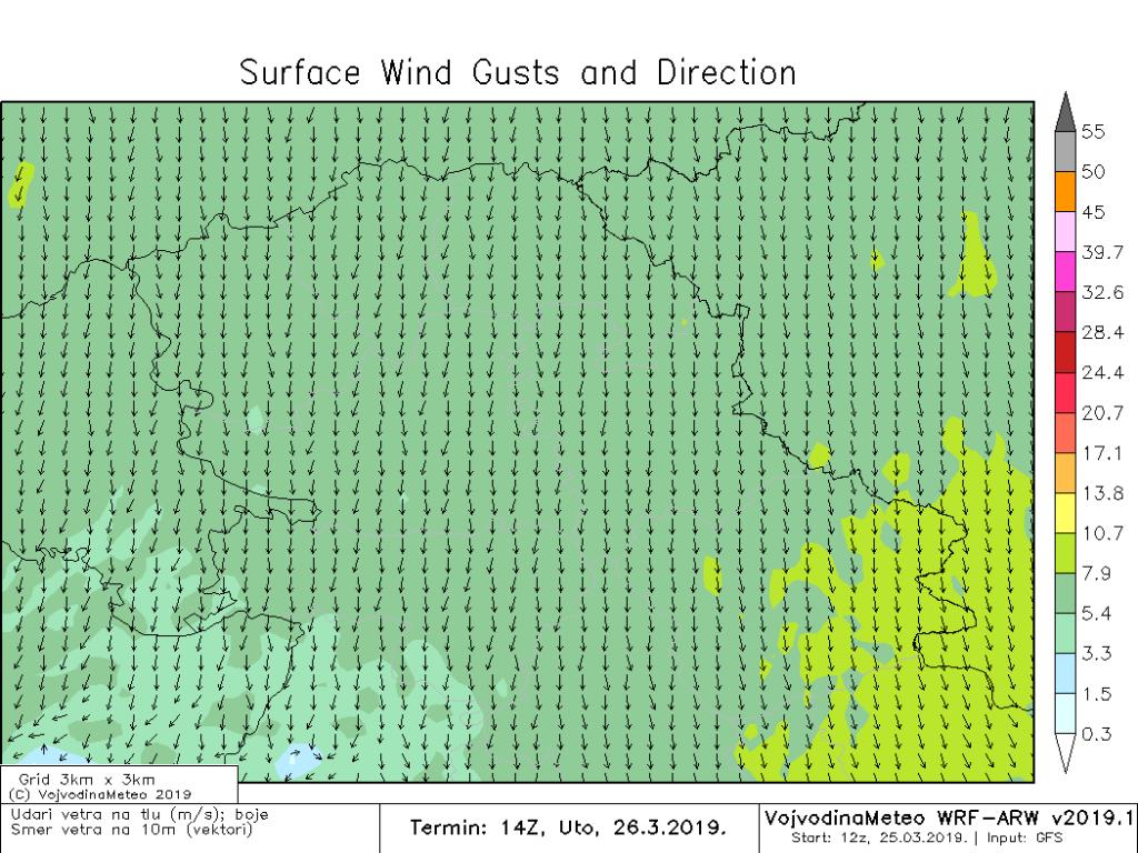 Umeren vetar severnih smerova duvaće u utorak (ARW)
