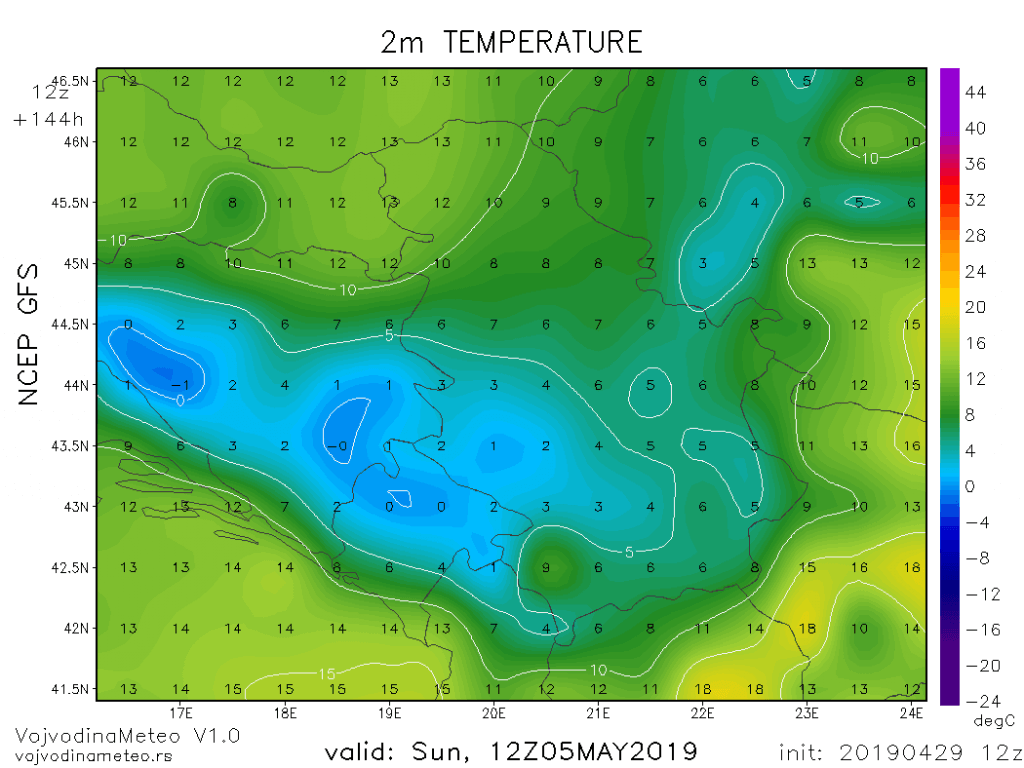 Dnevne temperature u nedelju 5. maja (GFS)