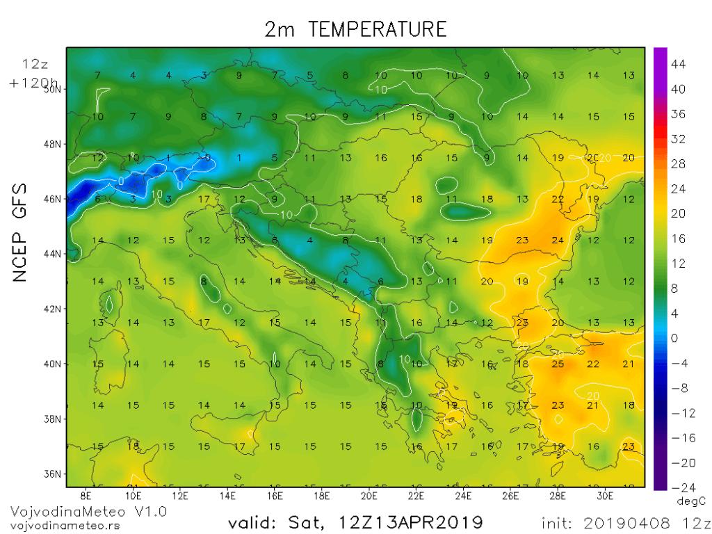 Dnevne temperature u regionu u subotu (GFS)