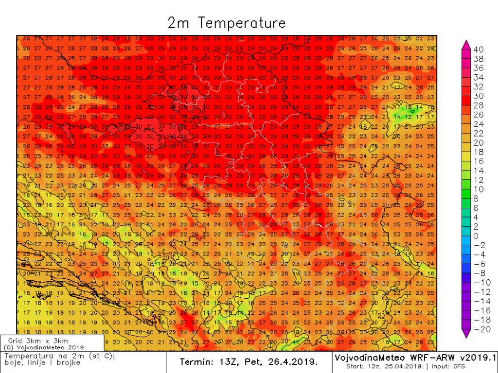 Očekivane maksimalne temperature u petak (ARW)